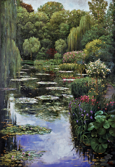 Pond, Trees and Rose Tree, oil on canvas 52inX72in