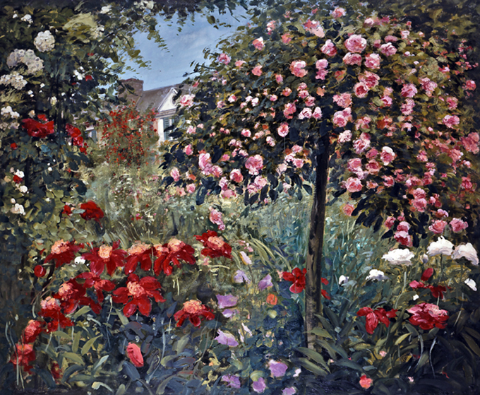 Monet's House and Rose Tree, oil on canvas 48inX78in