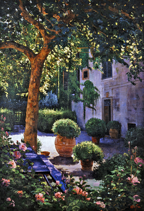 Provence Courtyard, oil on canvas 40inX50in