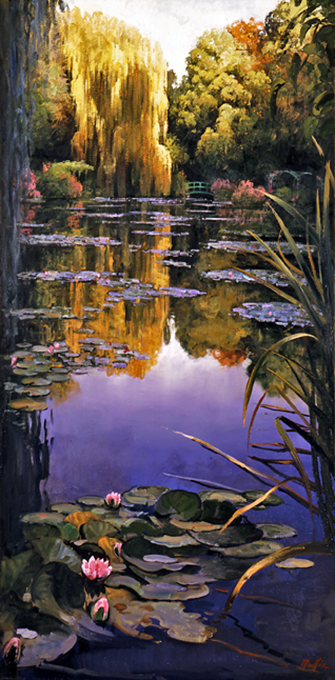 Giverny Willow, Blue Pond and Pink lilies, oil on canvas 36inX72in