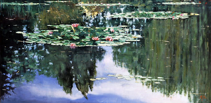 Pink Lilies, Poplars Reflected, oil on canvas 36inX72in