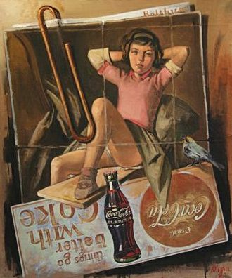 Balthus and Coke, oil on canvas 36inX30in