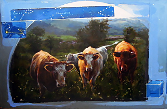 Cows and Constellation, oil on canvas 24inX36in