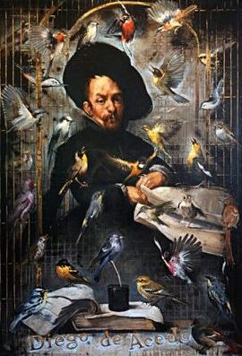 Diego with Birds, oil on canvas 72inX50in