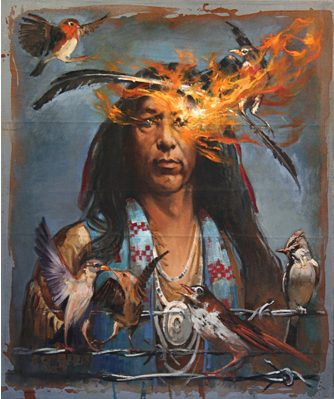 Native American and Fire, oil on canvas 36inX30in