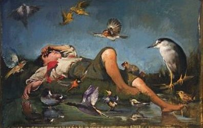 Reclining Boy and Birds, oil on canvas 24inX36in