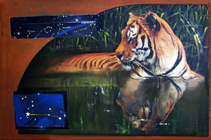 Tiger and Constellation, oil on canvas 24
