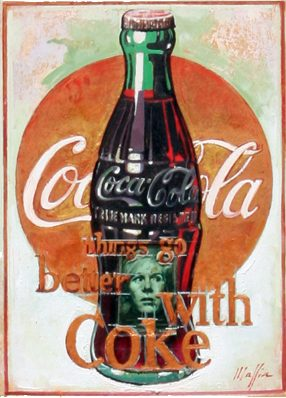 Warhol and Coke, oil on panel 16inX12in