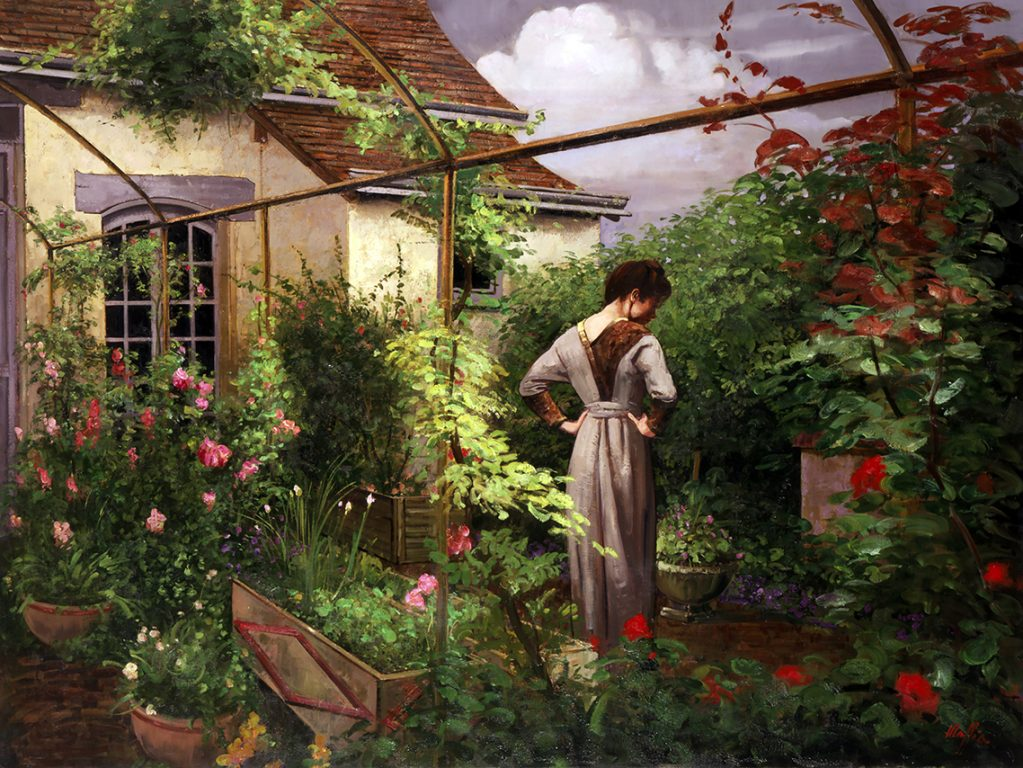 Lady in Garden, oil on canvas 48inX72in N/A