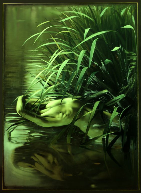Nude in Pond, oil on canvas 72inX48in
