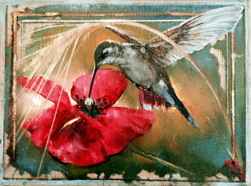 Hummingbird and Poppy, oil on canvas 12inX16in