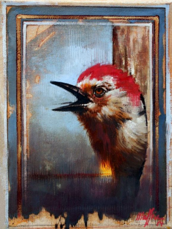Red Capped Woodpecker, oil on canvas 16inX12in
